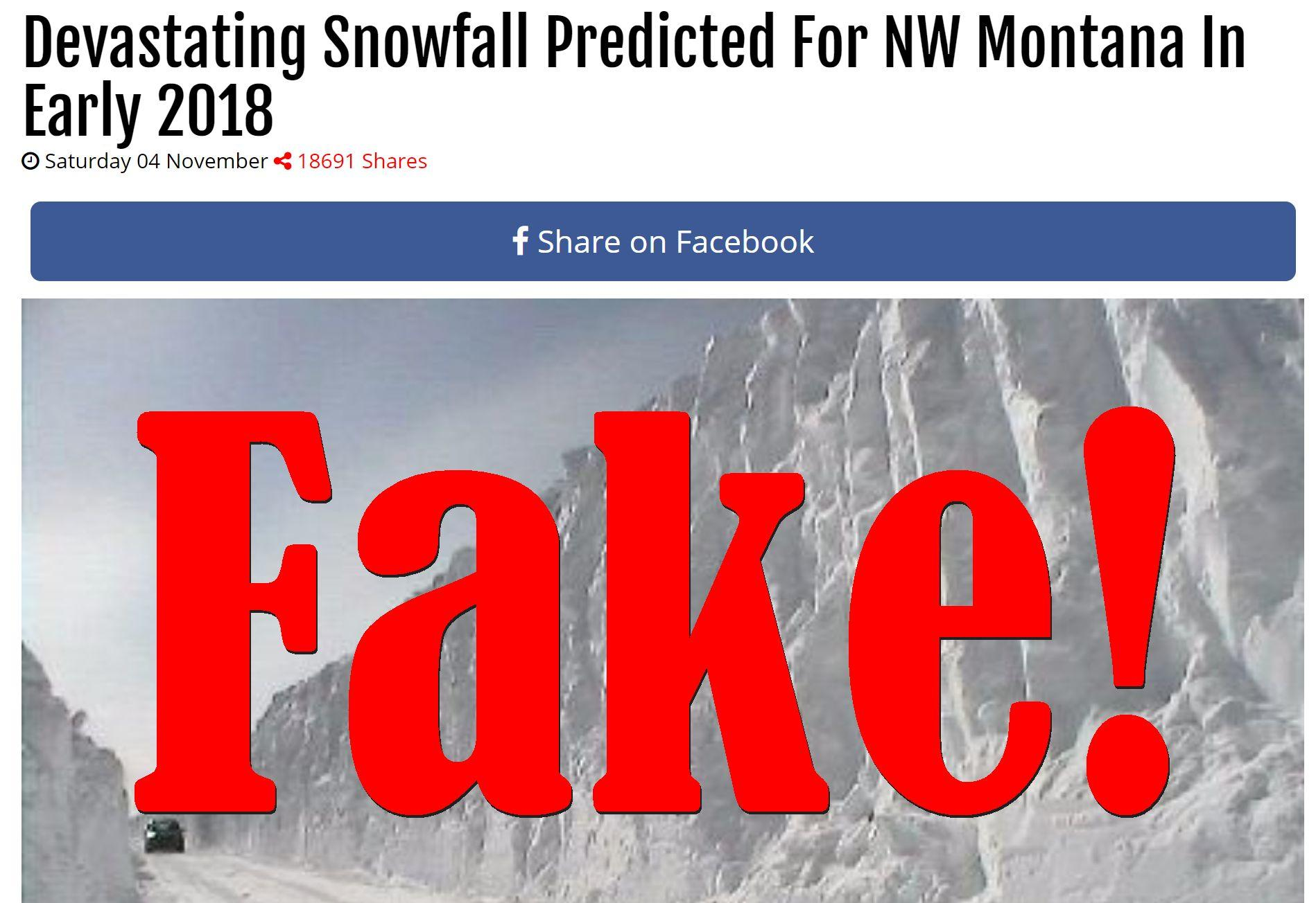 Fake News: Devastating Snowfall NOT Predicted For NW Montana In Early 2018
