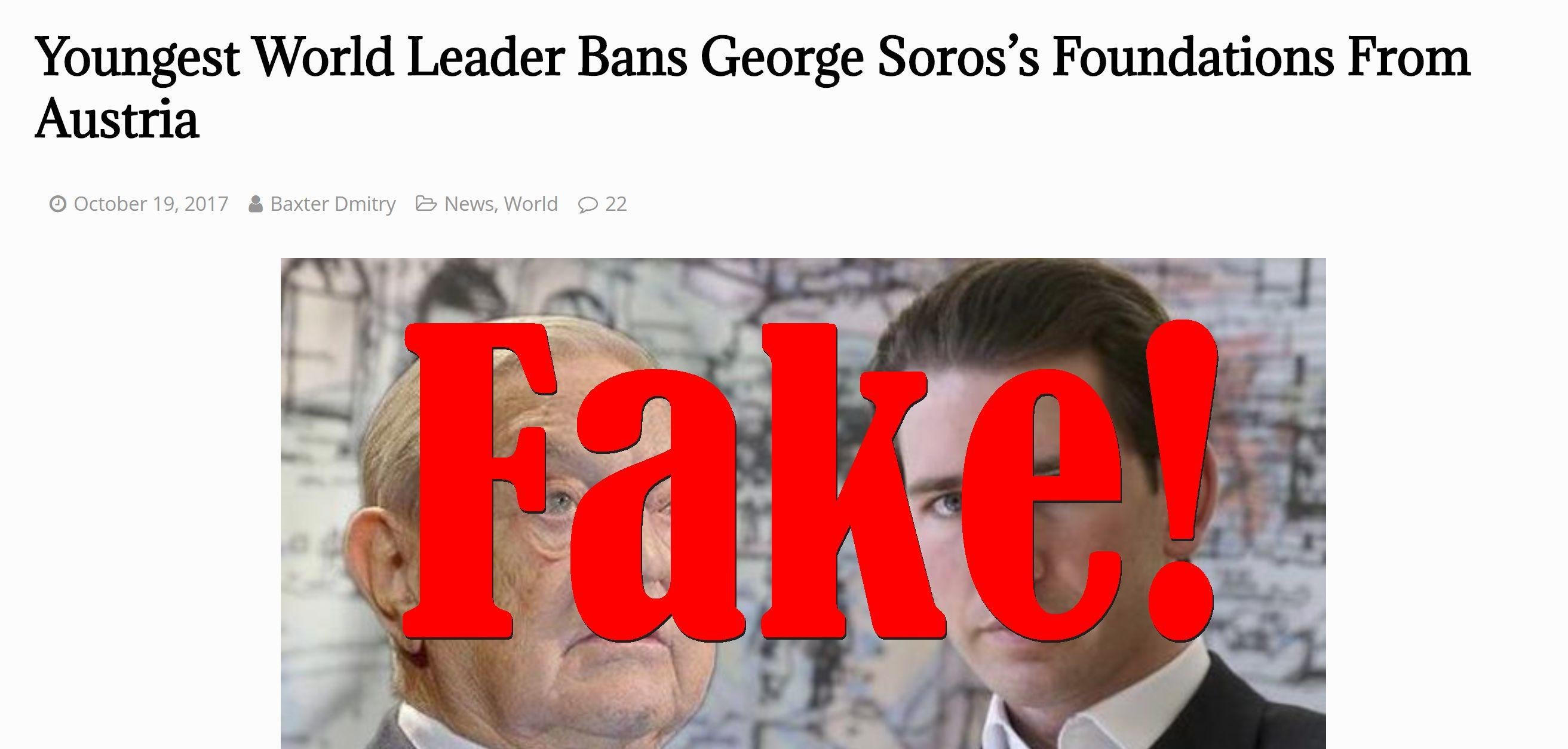 Fake News: Youngest World Leader Did NOT Ban George Soros's Foundations From Austria