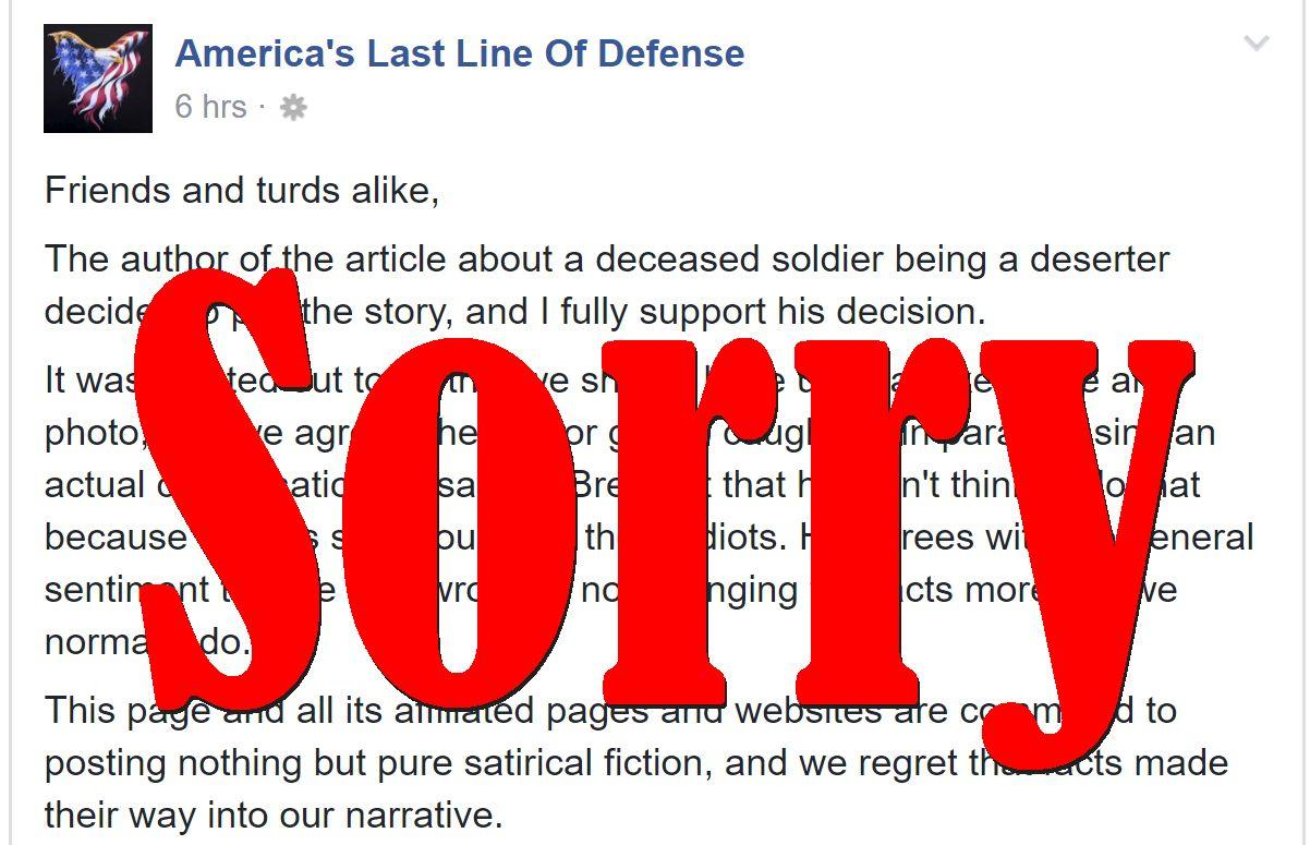 Fake News Site Apologises For Publishing Real Facts, Pulls Deserter Story