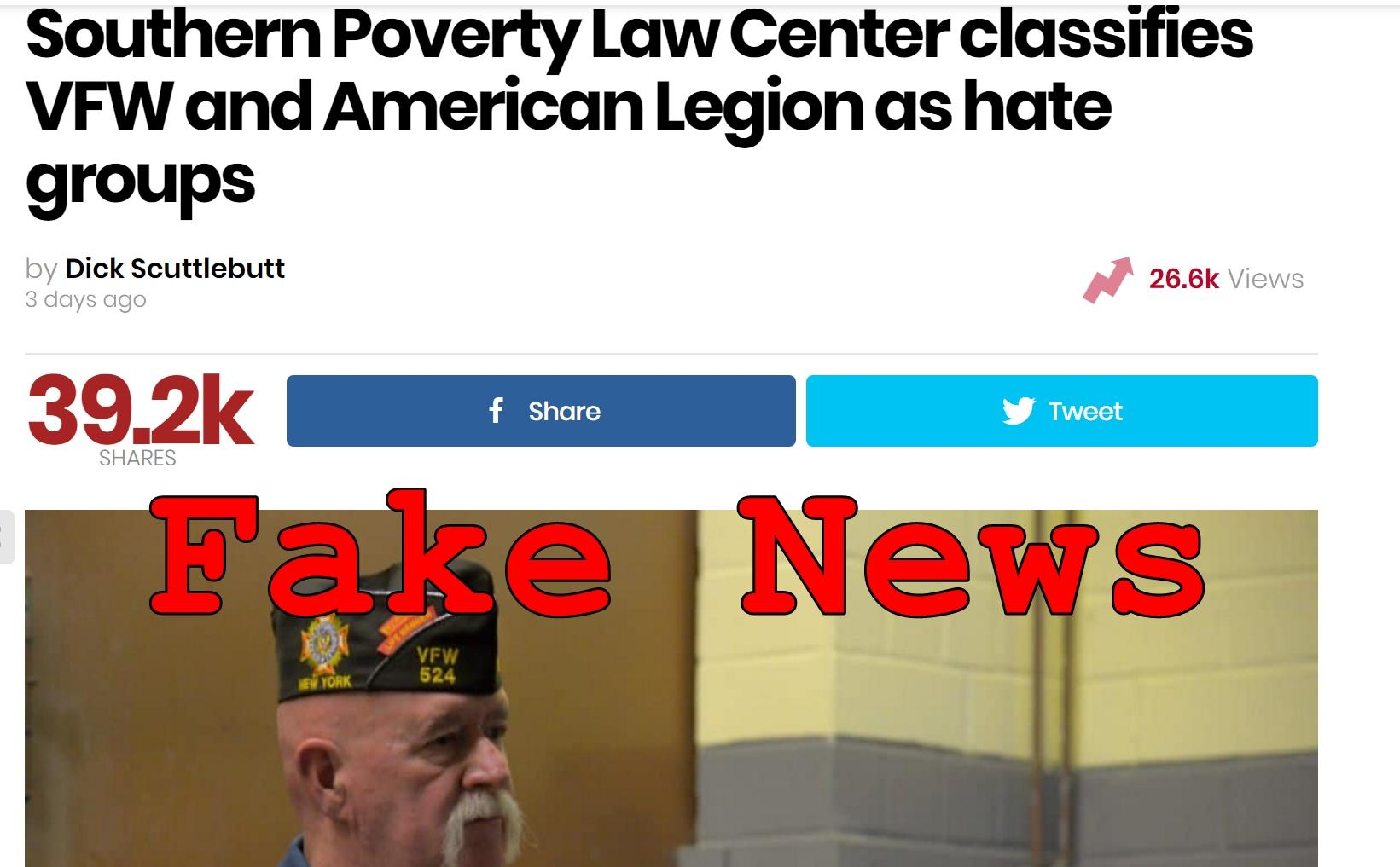 Fake News: Southern Poverty Law Center Did NOT Classify VFW And American Legion As Hate Groups