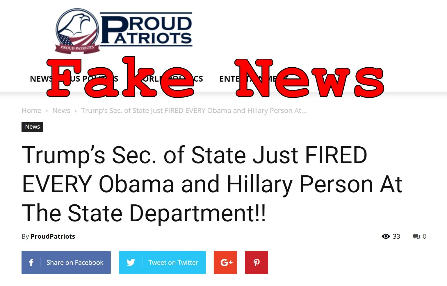 Fake News: Trump Sec. of State Did NOT Just Fire Every Obama and Hillary Person At The State Department