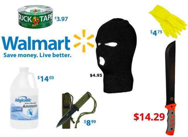 New Year's Terror Shopping List: Ski Masks, Machete, Knives, Zip Ties, Duct Tape, Ammonia, Gloves