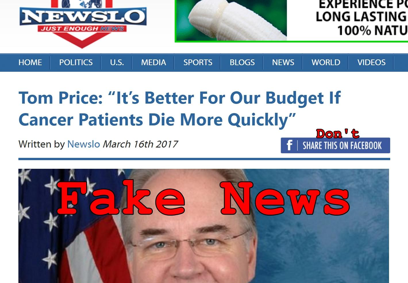Fake News: Tom Price Did NOT Say It Is Better For Budget If Cancer Patients Die More Quickly
