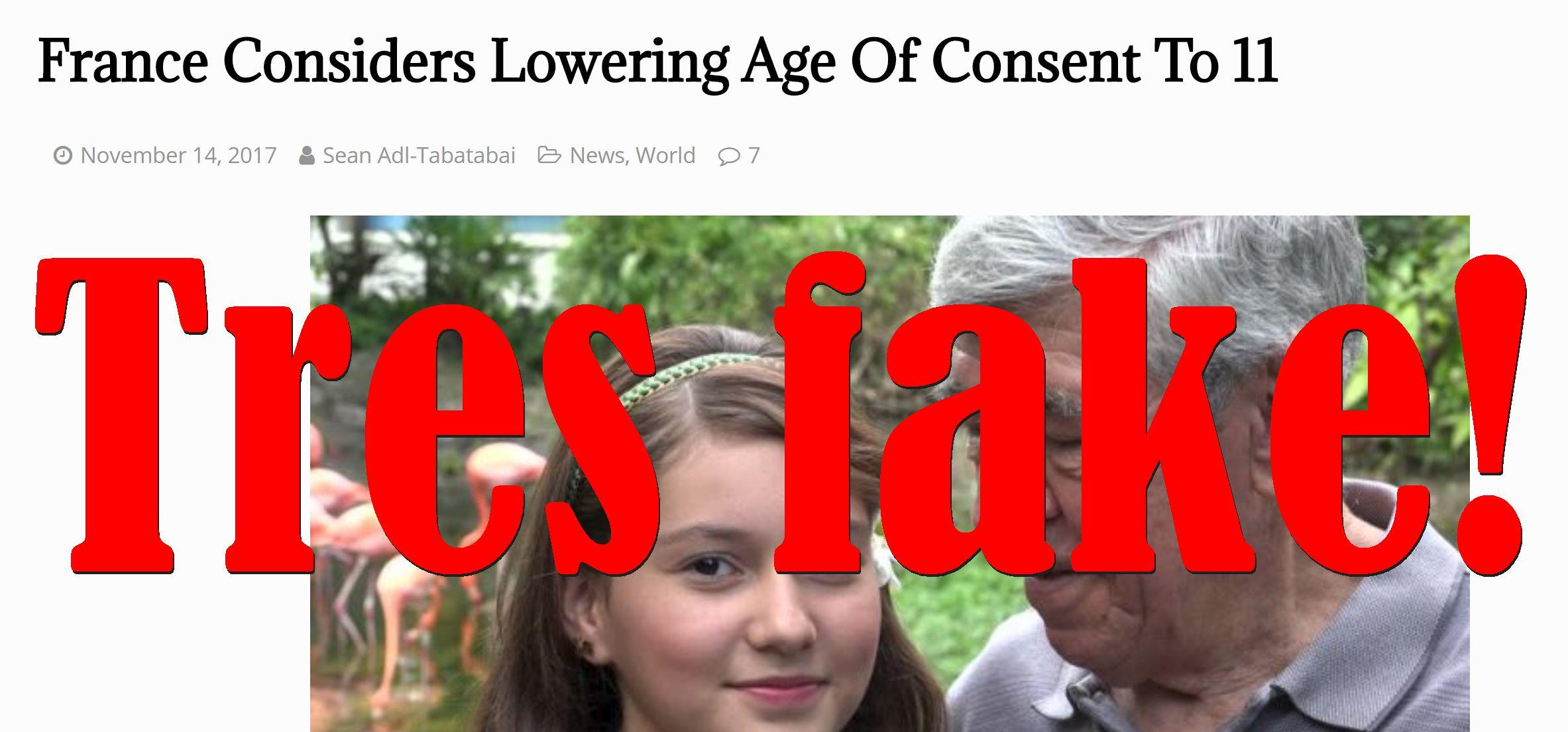 Fake News: France NOT Considering Lowering Age Of Consent To 11