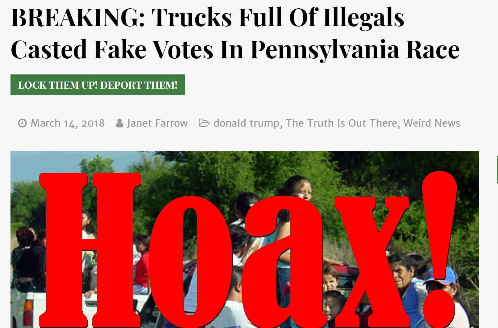 Fake News: Trucks Full Of Illegals Did NOT Cast Fake Votes In Pennsylvania Race