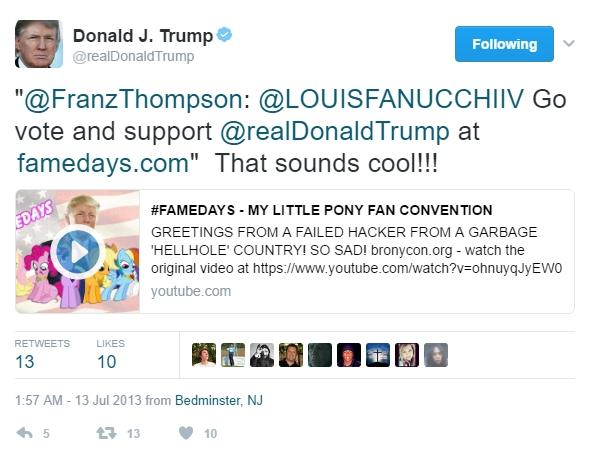 Belgian Hacker Makes Donald Trump Tweet About My Little Pony