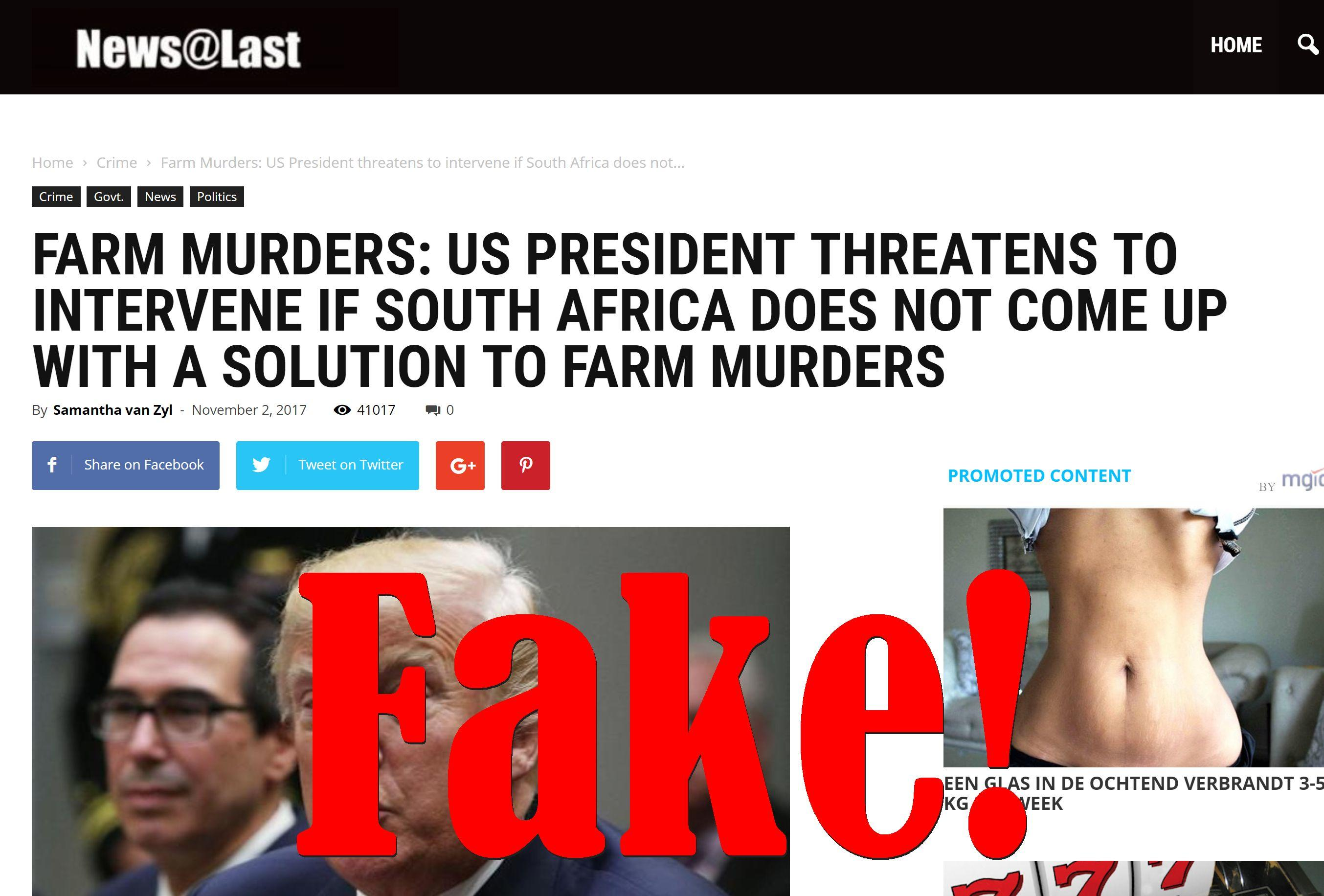 Fake News: Trump Did NOT Threaten To Intervene In South Africa Farm Murders