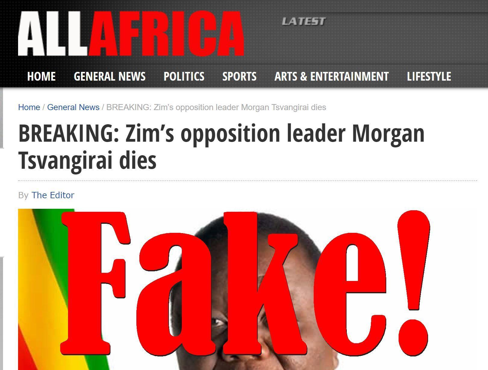 Fake News: Zimbabwe Opposition Leader Morgan Tsvangirai NOT Dead (UPDATE: Now He Is...)