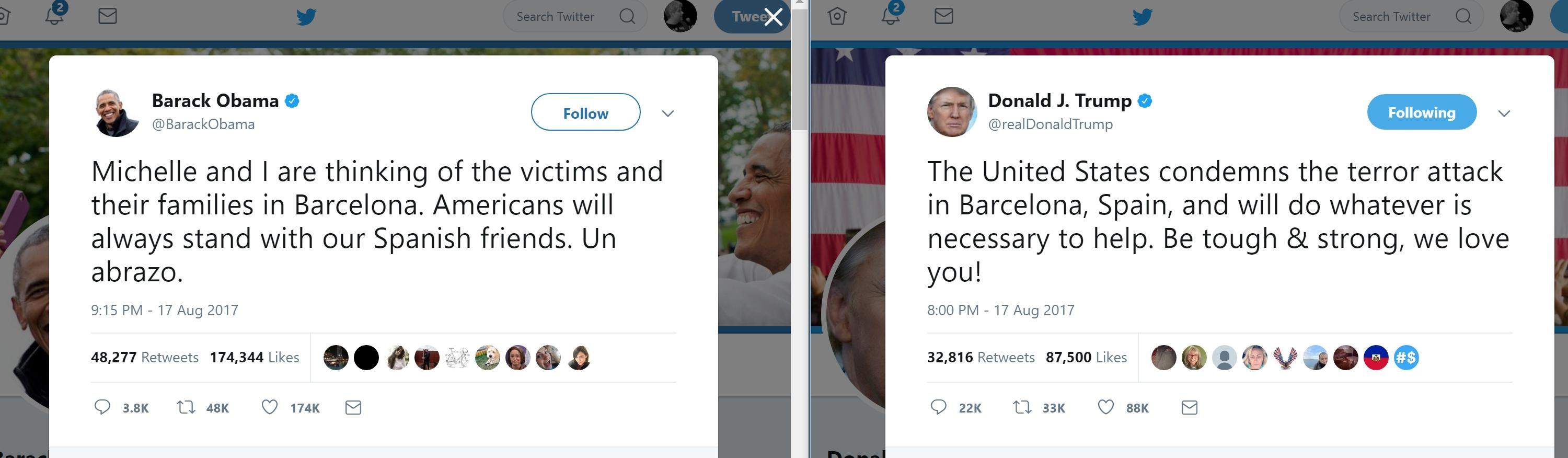 Obama's Post-Barcelona Attack Tweet Got More Traction Than Trump's
