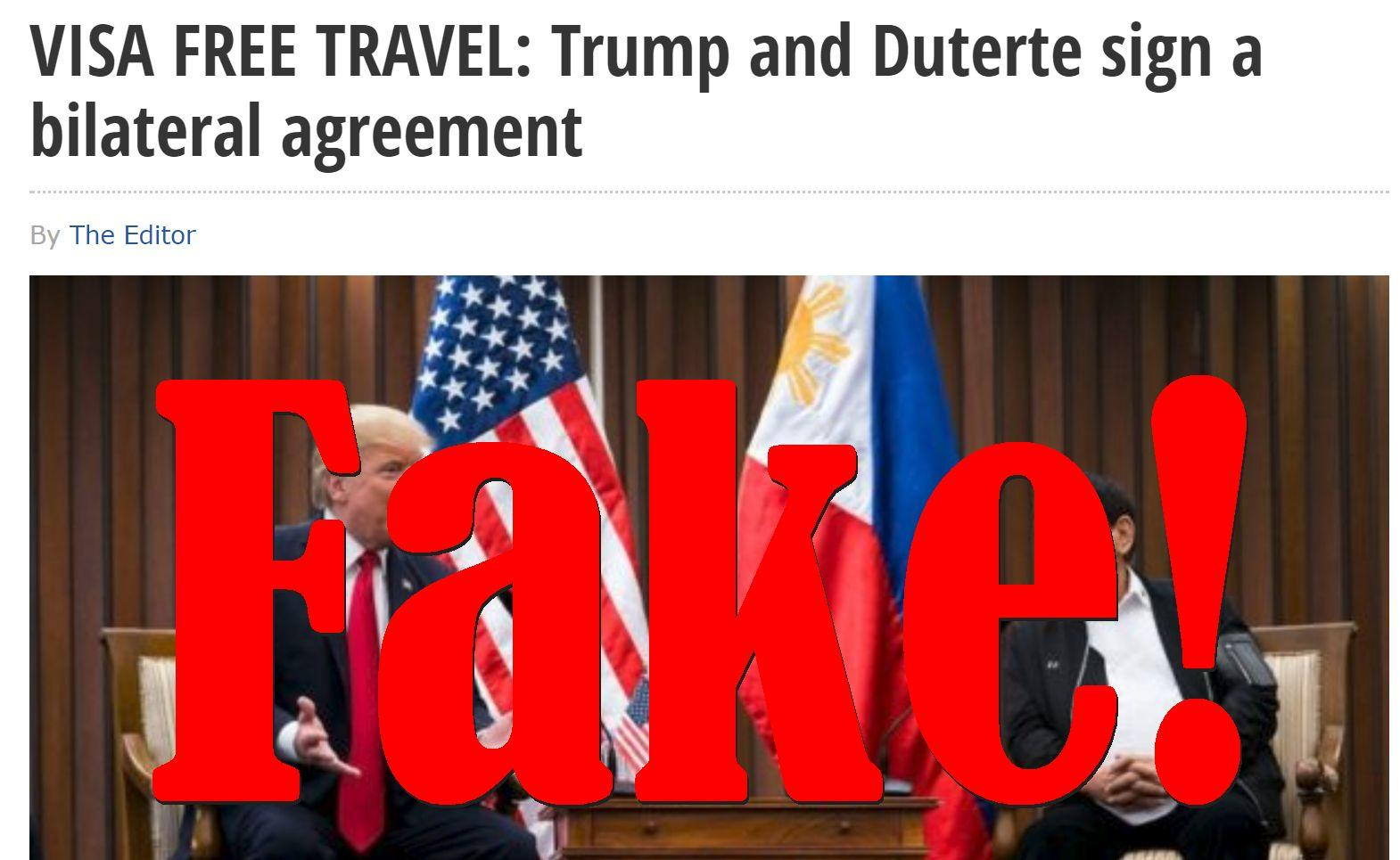Fake News: Trump and Duterte Did NOT Sign a Bilateral Visa Free Travel Agreement