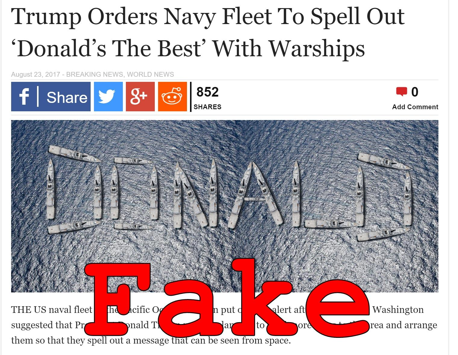 Fake News: Trump Did NOT Order Navy Fleet To Spell Out 'Donald's The Best' With Warships