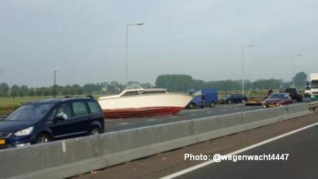 Boat On The Road: Bizarre Accident Blocks Dutch Highway