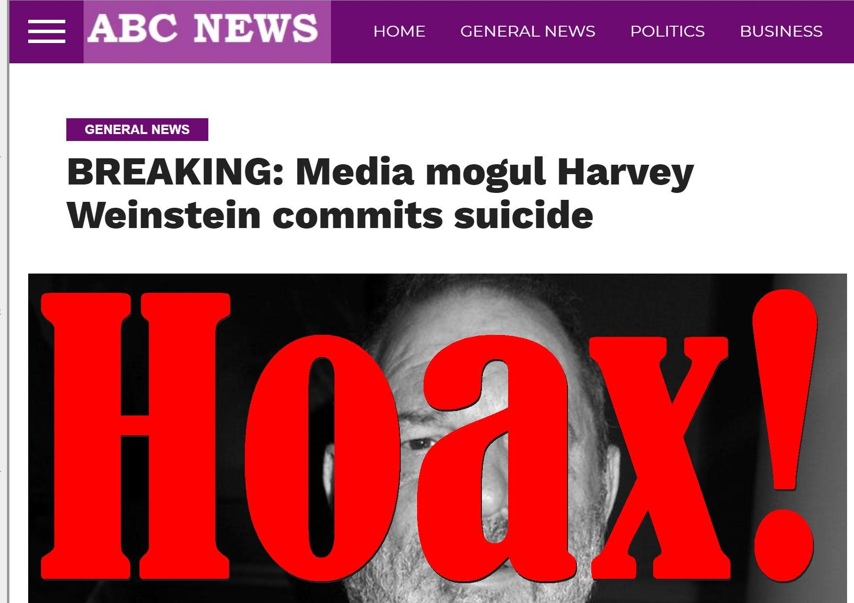 Fake News: Media Mogul Harvey Weinstein Did NOT Commit Suicide in Arizona