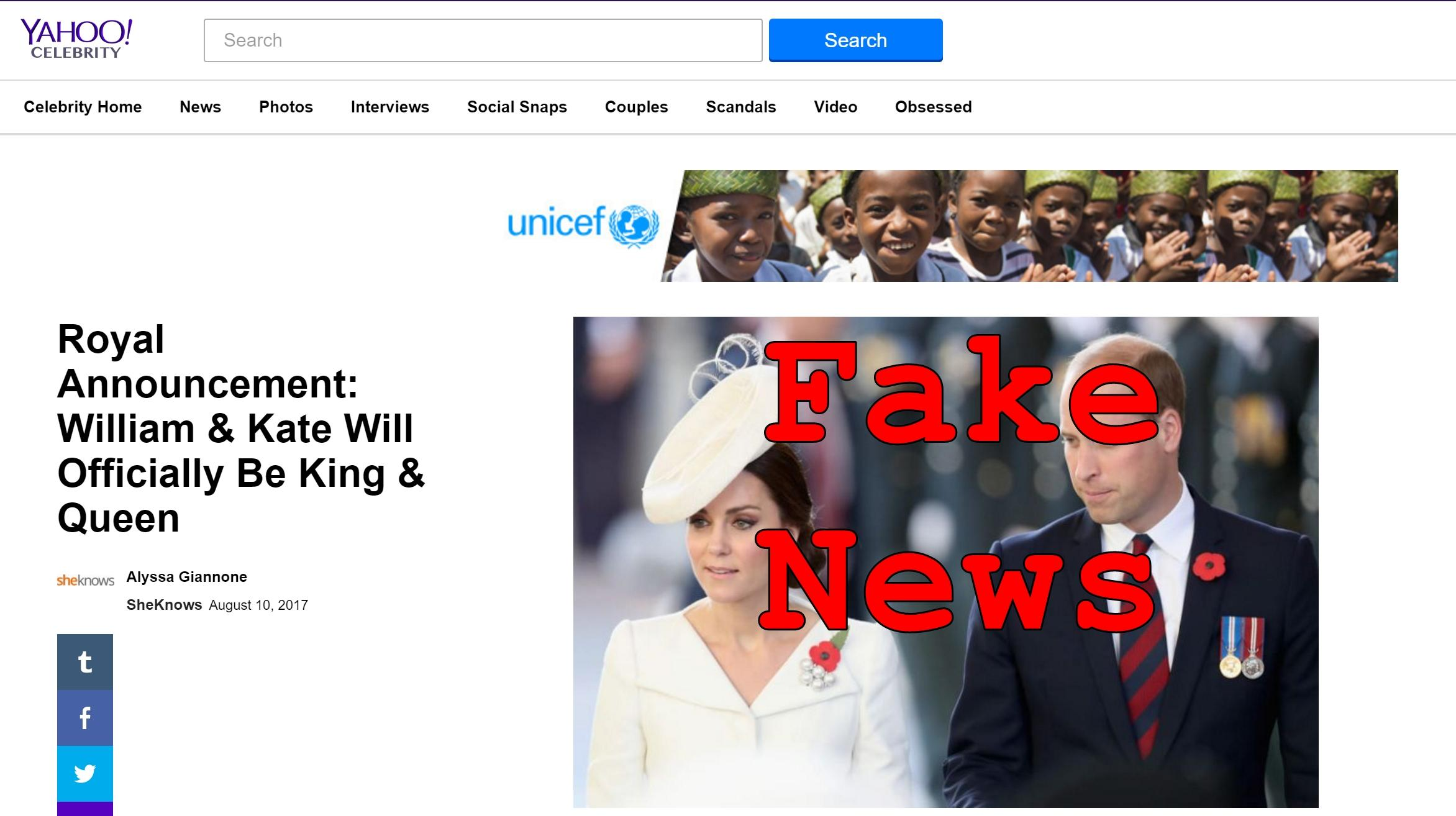 Fake News: NO Official Royal Announcement About Will & Kate Becoming King And Queen