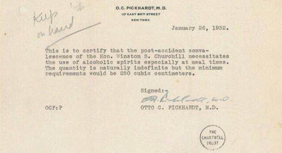 Image: Winston Churchill's Sick Note to Drink Alcohol During Prohibition