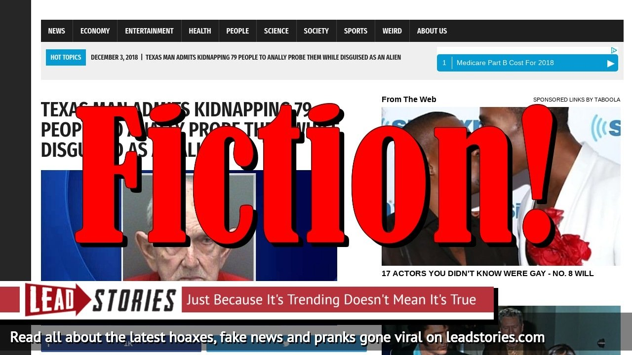 Screenshot of https://worldnewsdailyreport.com/texas-man-admits-kinapping-79-people-to-anally-probe-them-while-disguised-as-an-alien/